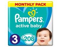 Pampers active baby dry mesačné balenie S3 1x208 ks