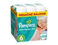Pampers active baby dry mesačné balenie S6 1x124 ks