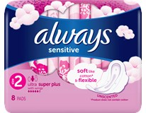 Always ultra sensitive super plus dámske vložky 1x8 ks