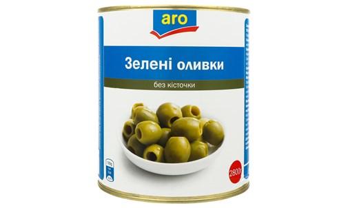 Оливки Aro зелені без кісточки 2800г