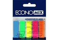 Закладки з клейким шаром 12х45 мм Economix, 125 шт., 5 неонових кольорів