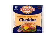 Сир плавлений President Cheddar для бургерів 40% 200г