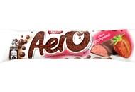 Шоколад Aero пористий молочний та білий смак полуниці 30г