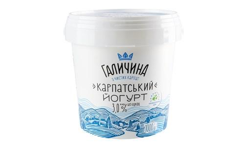 Йогурт Галичина Карпатський без цукру 3% 1000г