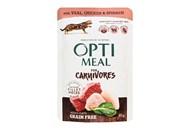 Корм вологий Optimeal з телятиною+курячим філе для котів 85г