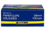 Скріпки Buromax №ВМ.5015 кольорові 28мм 100шт